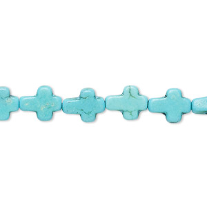 bead, howlite (dyed / imitation), turquoise blue, 10x8mm-10x9mm flat cross. sold per 15-inch strand.