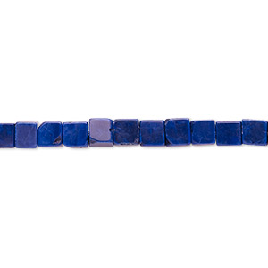 bead, howlite (dyed), lapis blue, 4mm cube, b grade, mohs hardness 3 to 3-1/2. sold per 16-inch strand.