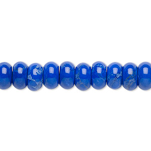 bead, howlite (dyed), lapis blue, 8x4mm rondelle, b grade, mohs hardness 3 to 3-1/2. sold per 16-inch strand.