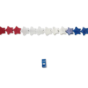 bead, howlite (dyed), red / white / blue, 4mm star, b grade, mohs hardness 3 to 3-1/2. sold per 16-inch strand.