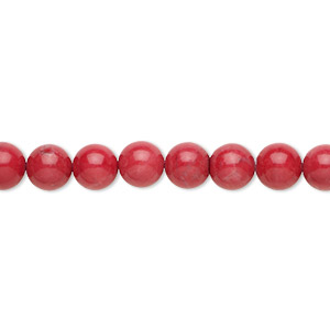 bead, howlite (dyed), red, 6mm round, b grade, mohs hardness 3 to 3-1/2. sold per 16-inch strand.
