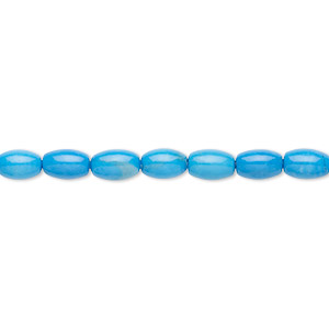 bead, howlite (dyed), turquoise blue, 6x4mm oval, b grade, mohs hardness 3 to 3-1/2. sold per 16-inch strand.