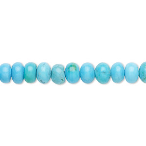 bead, howlite (dyed), turquoise blue, 6x4mm rondelle, b grade, mohs hardness 3 to 3-1/2. sold per 16-inch strand.