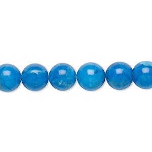 bead, howlite (dyed), turquoise blue, 8mm round, b grade, mohs hardness 3 to 3-1/2. sold per 16-inch strand.