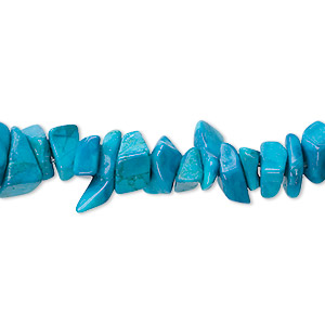 bead, howlite (dyed), turquoise blue, medium chip, mohs hardness 3 to 3-1/2. sold per 36-inch strand.