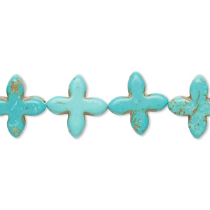 bead, howlite (imitation), aqua blue, 14x14mm-15x15mm flat cross. sold per 15-inch strand.