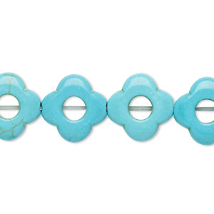 bead, howlite (imitation), light blue, 14x14mm-15x15mm modified round with round cutout, 4.5mm center hole. sold per 15-inch strand.