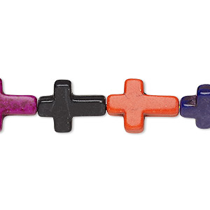 bead, howlite (imitation), multicolored, 15x12mm-16x12mm cross. sold per 15-inch strand.
