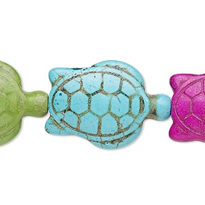 bead, howlite (imitation), multicolored, 26x18mm-27x19mm two-sided turtle. sold per 8-inch strand.