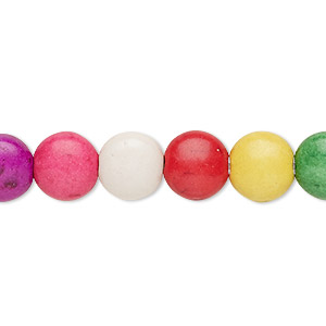 bead, howlite (imitation), multicolored, 9-10mm puffed flat round. sold per 15-inch strand.