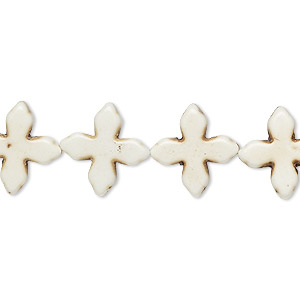 bead, howlite (imitation), white, 14x14mm-15x15mm flat cross. sold per 15-inch strand.