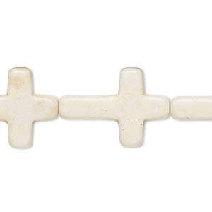 bead, howlite (imitation), white, 24x15mm-25x18mm cross. sold per 15-inch strand.