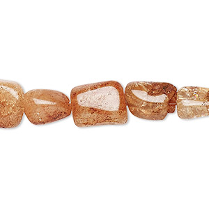 bead, ice flake quartz (heated / dyed), brown, small nugget, mohs hardness 7. sold per 16-inch strand.