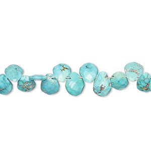 bead, imperial crown turquoise (natural), 7x5mm-8x6mm hand-cut top-drilled faceted puffed teardrop, b grade, mohs hardness 5 to 6. sold per 8-inch strand.