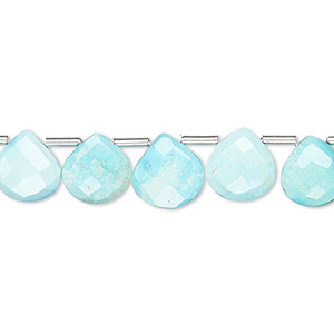 bead, imperial crown turquoise (natural), 9x9mm-10x10mm hand-cut top-drilled faceted puffed teardrop, b grade, mohs hardness 5 to 6. sold per pkg of 18 beads.