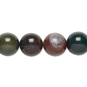 bead, indian bloodstone (natural), 12mm round, b grade, mohs hardness 6-1/2 to 7. sold per 16-inch strand.