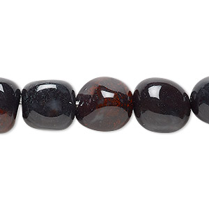 bead, indian bloodstone (natural), medium hand-cut tumbled nugget, mohs hardness 6-1/2 to 7. sold per 16-inch strand.