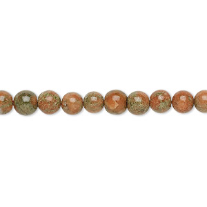 bead, indian unakite (natural), 5-6mm hand-cut round, c+ grade, mohs hardness 6 to 7. sold per 13-inch strand.