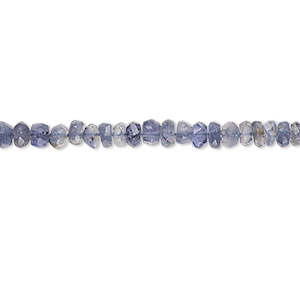bead, iolite (dyed), 3x2mm-4x3mm hand-cut faceted rondelle, b grade, mohs hardness 7 to 7-1/2. sold per 16-inch strand.