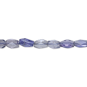 bead, iolite (dyed), 6x3mm-7x5mm hand-cut faceted brick, b grade, mohs hardness 7 to 7-1/2. sold per 16-inch strand.