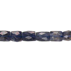 bead, iolite (dyed), 7x6mm-10x7mm hand-cut faceted rectangle, b grade, mohs hardness 7 to 7-1/2. sold per 16-inch strand.