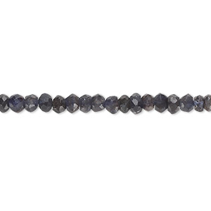 bead, iolite (dyed), blue and purple, 3x1mm-5x3mm hand-cut faceted rondelle, d grade, mohs hardness 7 to 7-1/2. sold per 12-inch strand.