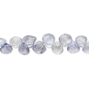 bead, iolite (dyed), light, 5mm-7x6mm hand-cut top-drilled faceted puffed teardrop, c grade, mohs hardness 7 to 7-1/2. sold per 4-inch strand.