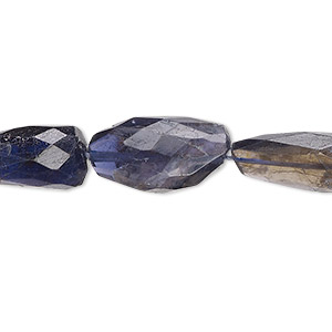 bead, iolite (dyed), small to medium hand-cut faceted nugget, mohs hardness 7 to 7-1/2. sold per 16-inch strand.