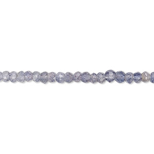 bead, iolite (natural), 3x2mm-4x3mm hand-cut faceted rondelle, c- grade, mohs hardness 7 to 7-1/2. sold per 13-inch strand.