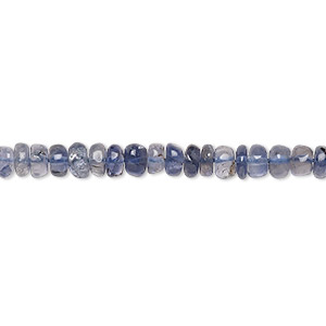 bead, iolite (natural), 4x2mm-5x4mm hand-cut rondelle, c grade, mohs hardness 7 to 7-1/2. sold per 14-inch strand.
