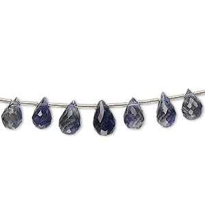 bead, iolite (natural), 5x3mm-9x5mm graduated hand-cut top-drilled faceted briolette, b grade, mohs hardness 7 to 7-1/2. sold per 4-inch strand, approximately 15 beads.