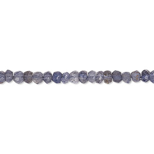 bead, iolite (natural), light to dark, 3x2mm-4x3mm hand-cut faceted rondelle, b grade, mohs hardness 7 to 7-1/2. sold per 16-inch strand.