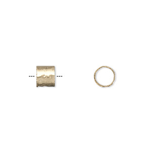 bead, jbb findings, 12kt gold-filled, 6x5mm textured round tube with 5mm hole. sold individually.