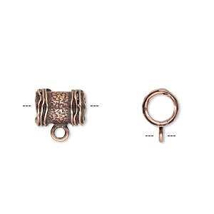 bead, jbb findings, antique copper-plated brass, 10x7.5mm textured round tube with ribbed ends and loop, 5mm hole. sold per pkg of 2.