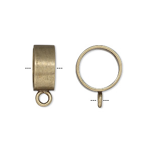 bead, jbb findings, antiqued brass, 13.5x6mm smooth round tube with closed loop and 11.75mm hole. sold individually.