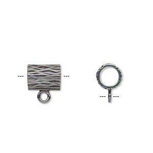 bead, jbb findings, gunmetal-plated brass, 9.5x7.5mm round tube with line design and loop, 5mm hole. sold individually.