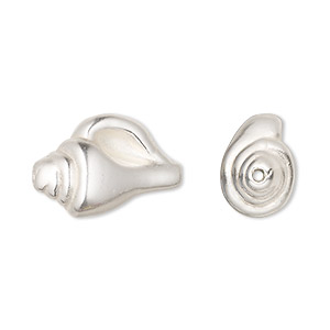 bead, jbb findings, sterling silver, electroformed, 21x12mm shell with 1mm hole. sold individually.