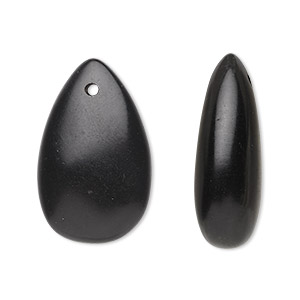 bead, jet (natural), 27x17mm-30x19mm hand-cut top-drilled puffed teardrop, b grade, mohs hardness 2-1/2 to 4. sold per pkg of 2.