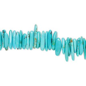 bead, kingman turquoise (stabilized), blue-green, large chip, mohs hardness 5 to 6. sold per 15-inch strand.