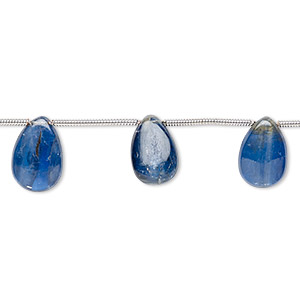 bead, kyanite (natural), 6x4mm-12x8mm hand-cut top-drilled teardrop, b+ grade, mohs hardness 4 to 7-1/2. sold per pkg 10 beads.
