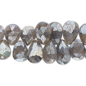 bead, labradorite (coated), luster, 12x8mm hand-cut top-drilled faceted puffed teardrop, b grade, mohs hardness 6 to 6-1/2. sold per 4-inch strand.