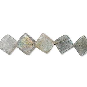 bead, labradorite (natural), 10x9mm-12mm hand-cut flat diamond, b grade, mohs hardness 6 to 6-1/2. sold per 13-inch strand.