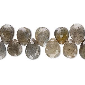bead, labradorite (natural), 11x8mm-13x9mm hand-cut top-drilled faceted puffed teardrop, b grade, mohs hardness 6 to 6-1/2. sold per 4-inch strand.