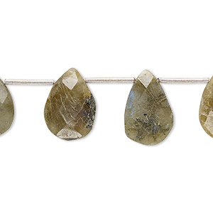 bead, labradorite (natural), 13x8mm-17x13mm hand-cut top-drilled faceted puffed teardrop, d grade, mohs hardness 6 to 6-1/2. sold per pkg of 10 beads.