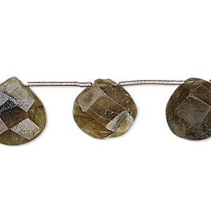 bead, labradorite (natural), 14x13mm-15mm hand-cut top-drilled faceted puffed teardrop, d grade, mohs hardness 6 to 6-1/2. sold per pkg of 10 beads.