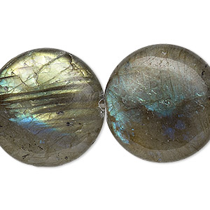 bead, labradorite (natural), 25mm flat round, b grade, mohs hardness 6 to 6-1/2. sold per 8-inch strand.