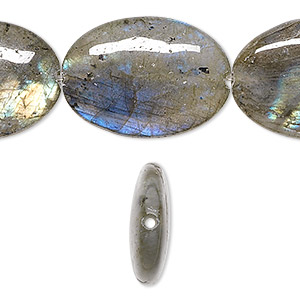 bead, labradorite (natural), 25x18mm flat oval, a- grade, mohs hardness 6 to 6-1/2. sold per 8-inch strand.