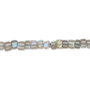 bead, labradorite (natural), 4x2mm-5x4mm hand-cut heishi, b grade, mohs hardness 6 to 6-1/2. sold per 12-inch strand.