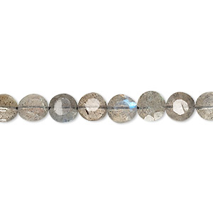 bead, labradorite (natural), 5-7mm hand-cut faceted flat round, b+ grade, mohs hardness 6 to 6-1/2. sold per 14-inch strand.