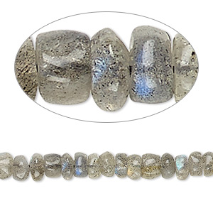 bead, labradorite (natural), 5x2mm-6x4mm hand-cut rondelle, c grade, mohs hardness 6 to 6-1/2. sold per 13-inch strand.